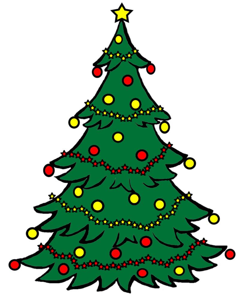 Disegni Alberelli Di Natale.Disegno Di Albero Natalizio A Colori Per Bambini