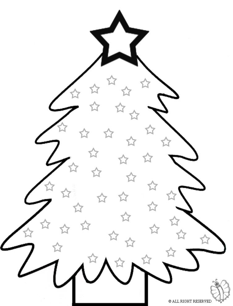 Disegni Di Natale Gratis Da Colorare Per Bambini.Disegno Di Albero Con Stelle Da Colorare Per Bambini