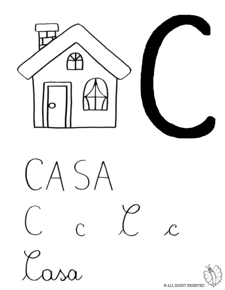 Great disegno di lettera c di casa da colorare with for Progetti di casa delle bambole gratis
