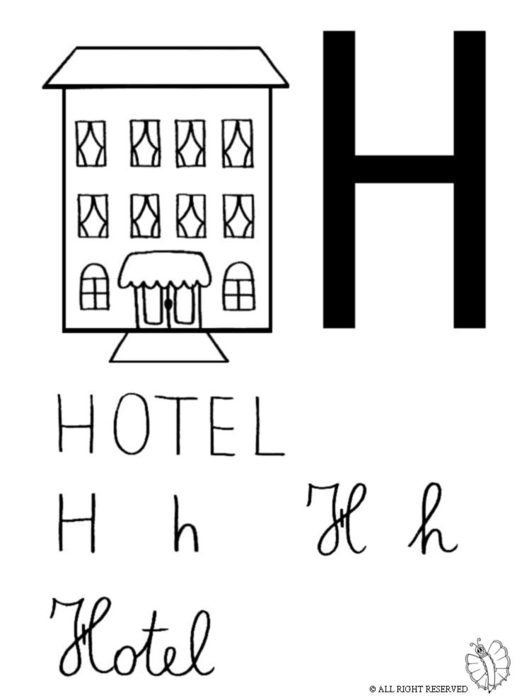 Super Disegno di Lettera H di Hotel a colori per bambini  YW18