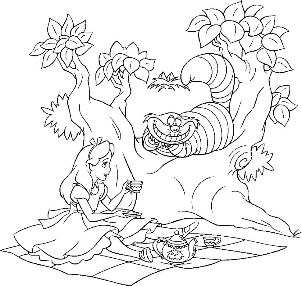Favorito Disegno di Alice e lo Stregatto da colorare per bambini  LH77