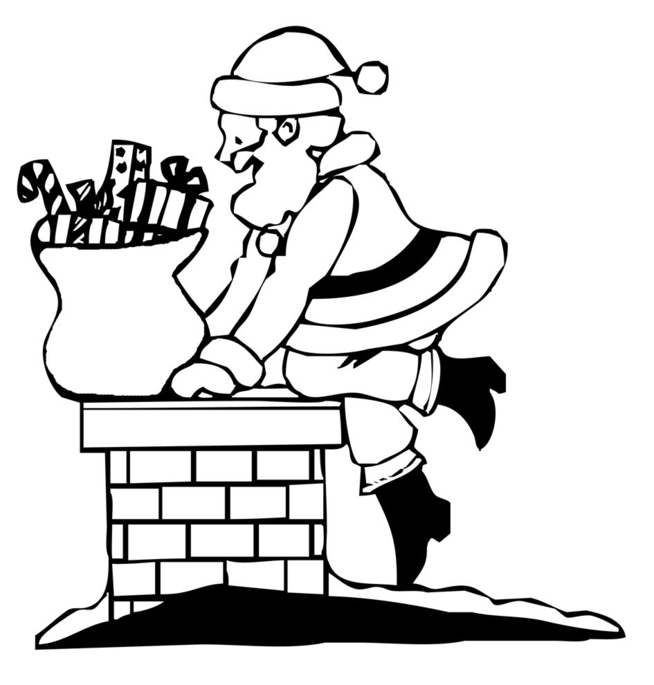 Amato Disegno di Babbo Natale nel Camino da colorare per bambini  WQ44