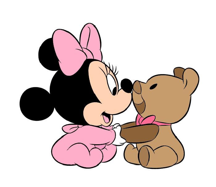 Très Disegno di Baby Minnie con Orsacchiotto a colori per bambini  JZ51