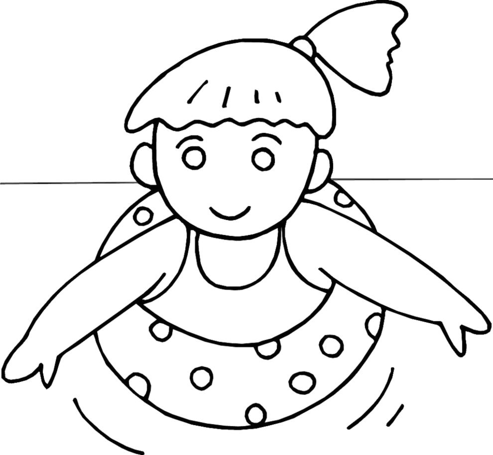 Disegno Di Bambina Con Salvagente Da Colorare Per Bambini