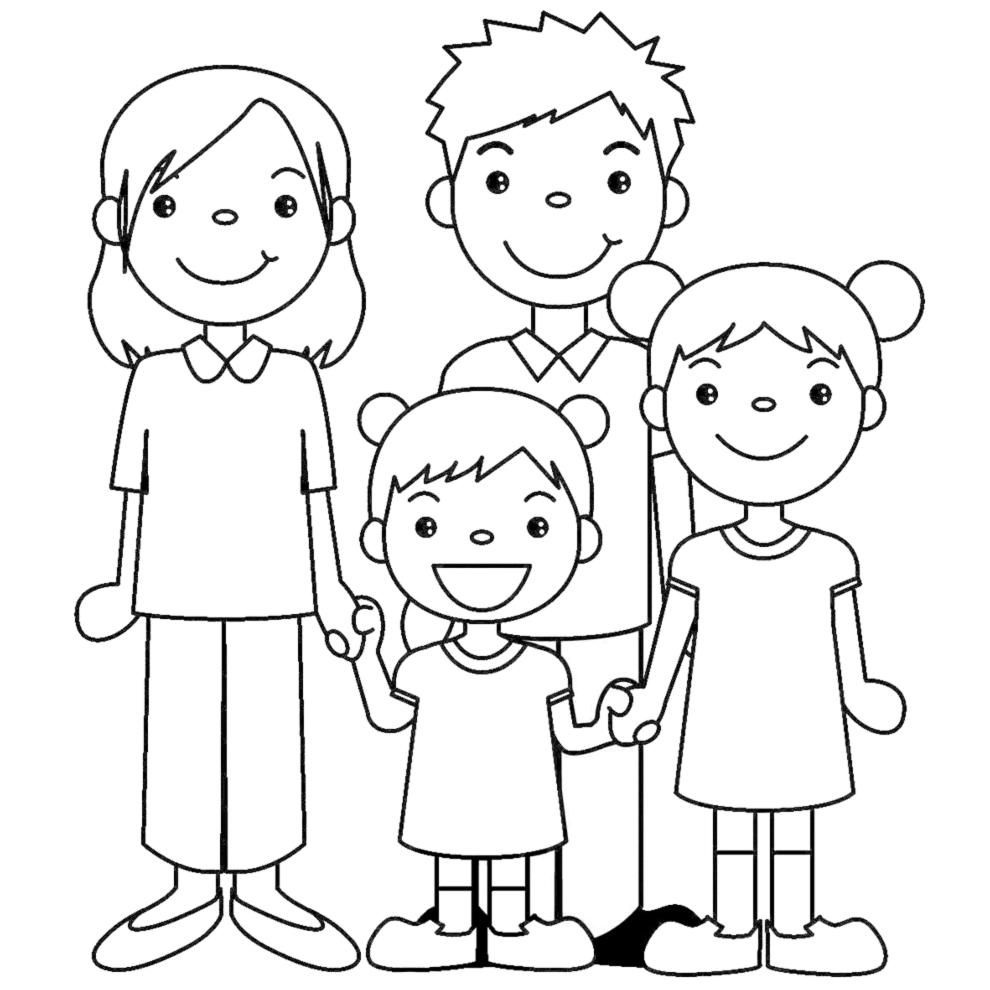 Disegno Di Famiglia Unita Da Colorare Per Bambini