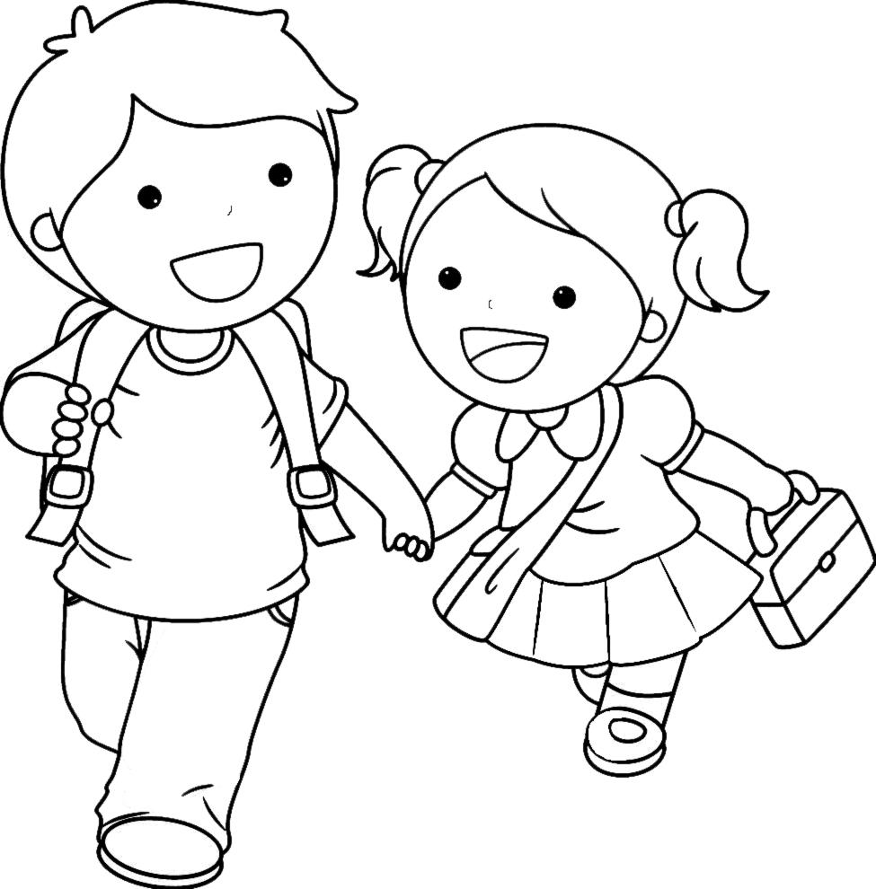 Disegni da colorare di bambini a scuola fare di una mosca for Comodini per bambini online