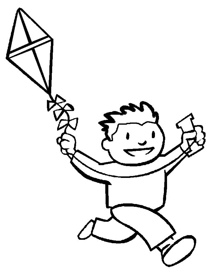 spesso Disegno di Bambino con Aquilone da colorare per bambini  IM26