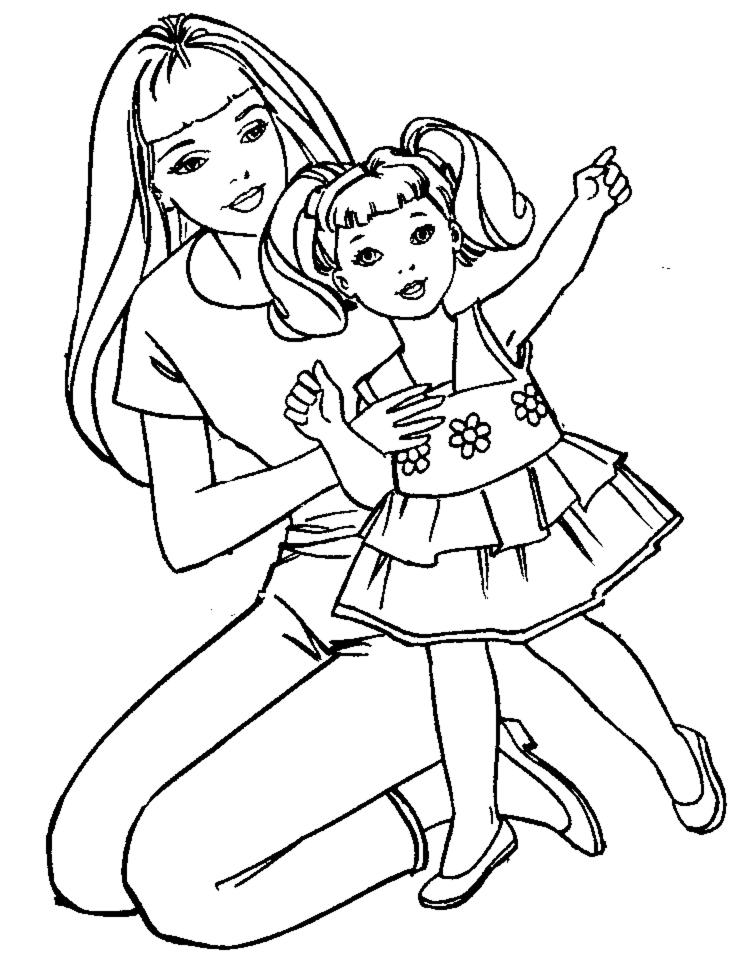 Disegno Di Barbie E La Bambina Da Colorare Per Bambini
