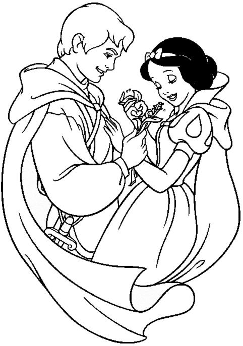 disegni da colorare biancaneve e principe
