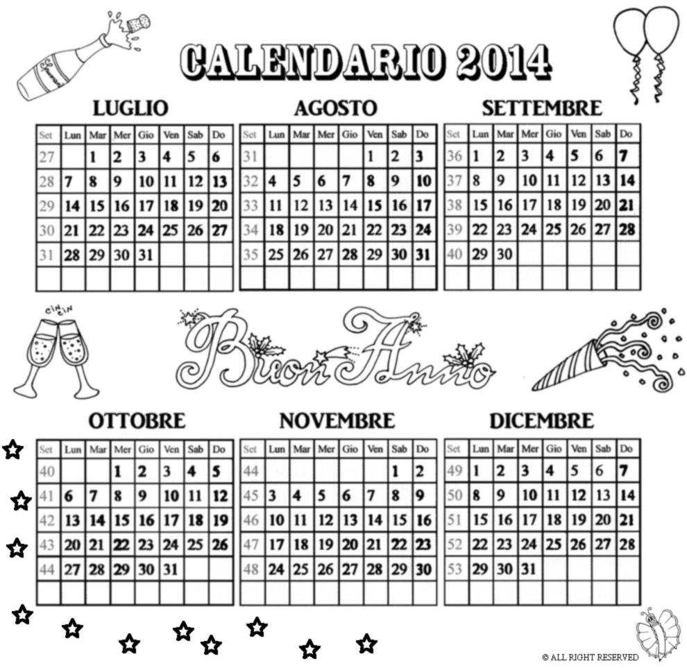 Eccezionale Disegno di Calendario 2014 da Luglio a Dicembre da colorare per  TM99