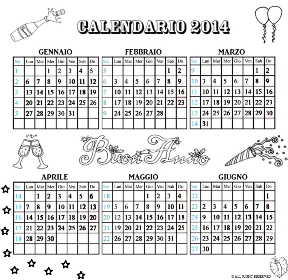 abbastanza Disegno di Calendario 2014 da Gennaio a Giugno da colorare per  HR78