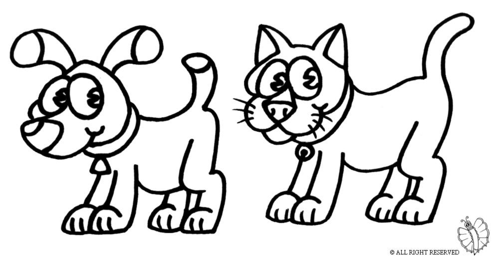 Preferenza Disegno di Cane e Gatto da colorare per bambini  GD43