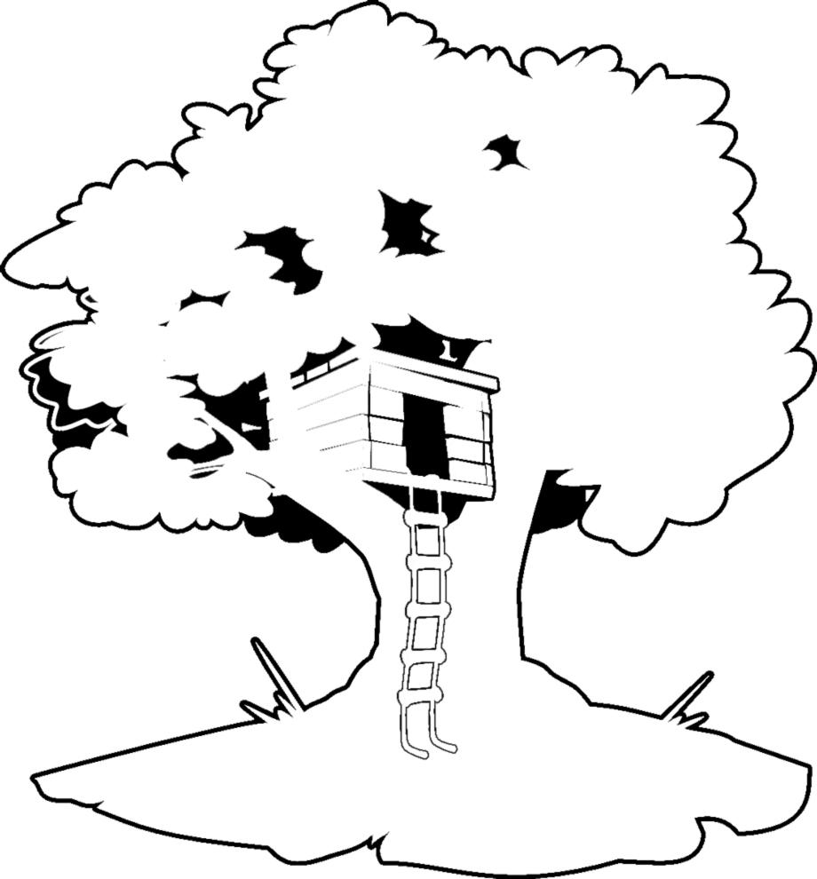 disegno di casa sull'albero da colorare per bambini ... - Disegni Case Bambini