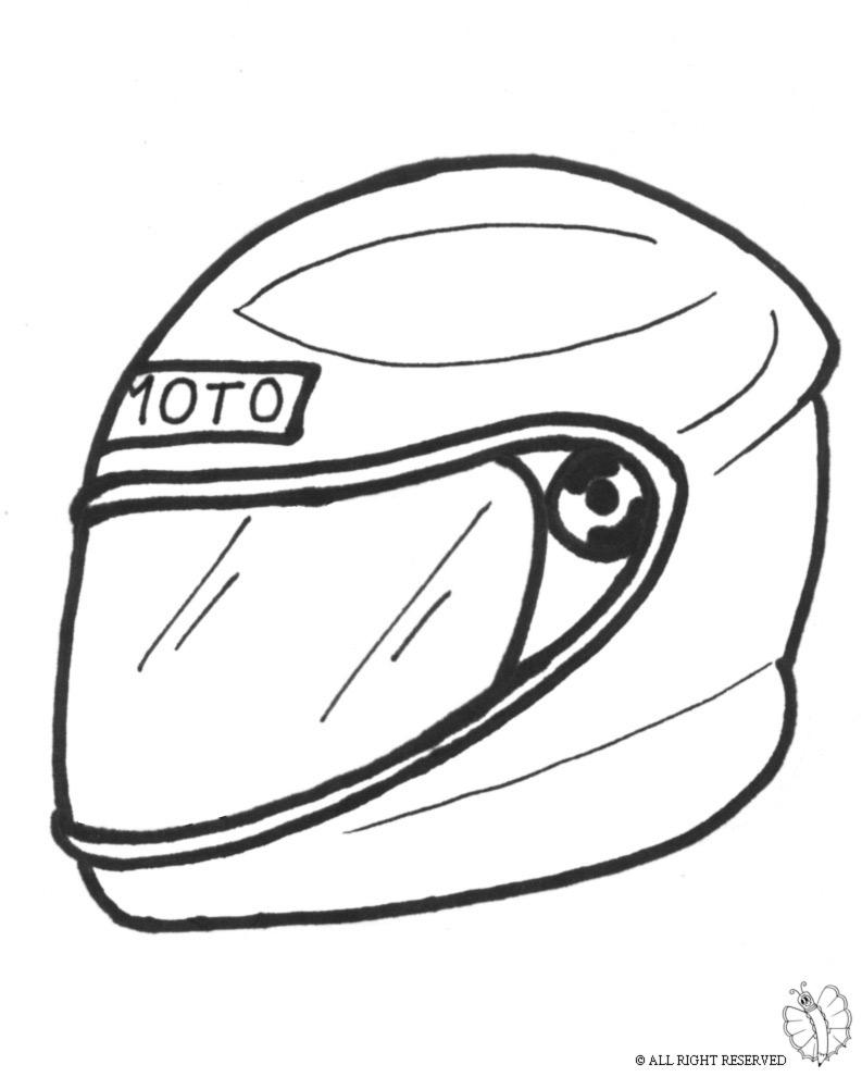 Disegno Di Casco Per Moto Da Colorare Per Bambini