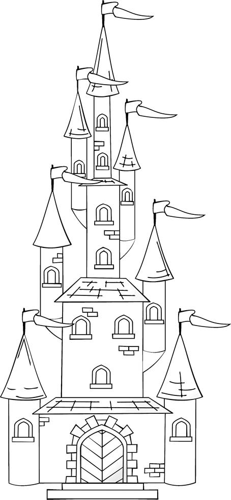 Disegno Di Il Castello Con Le Torri Da Colorare Per Bambini