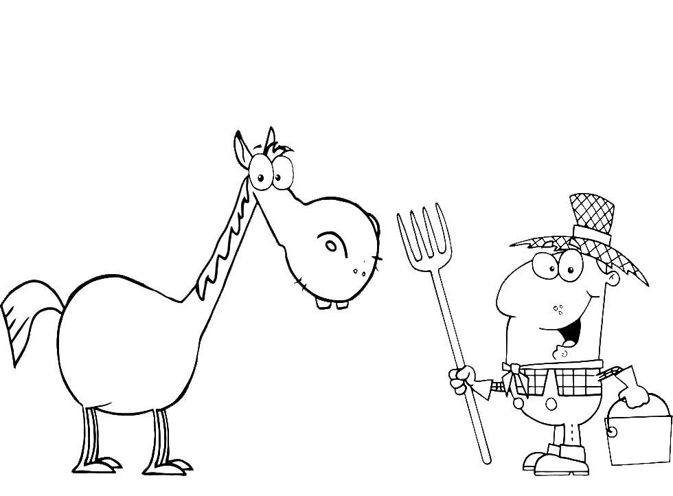 Disegno Di Il Cavallo Nella Fattoria Da Colorare Per Bambini