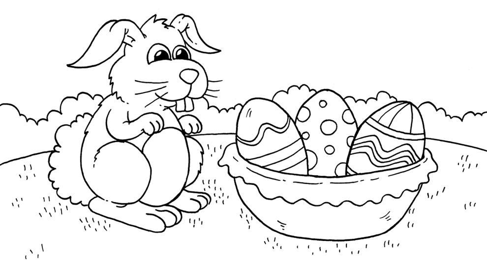 Disegno Di Il Coniglio E Le Uova Da Colorare Per Bambini