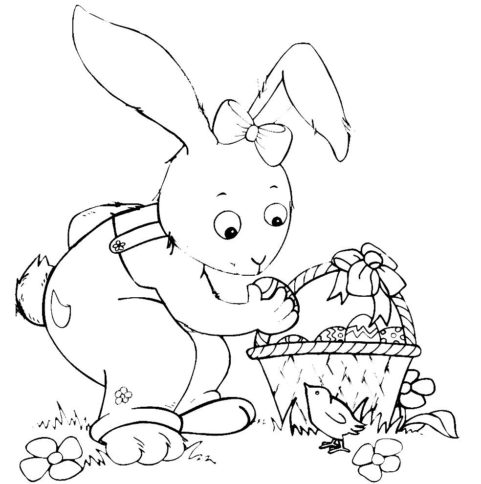 spesso Disegno di Coniglio di Pasqua con Pulcino da colorare per bambini  HU14