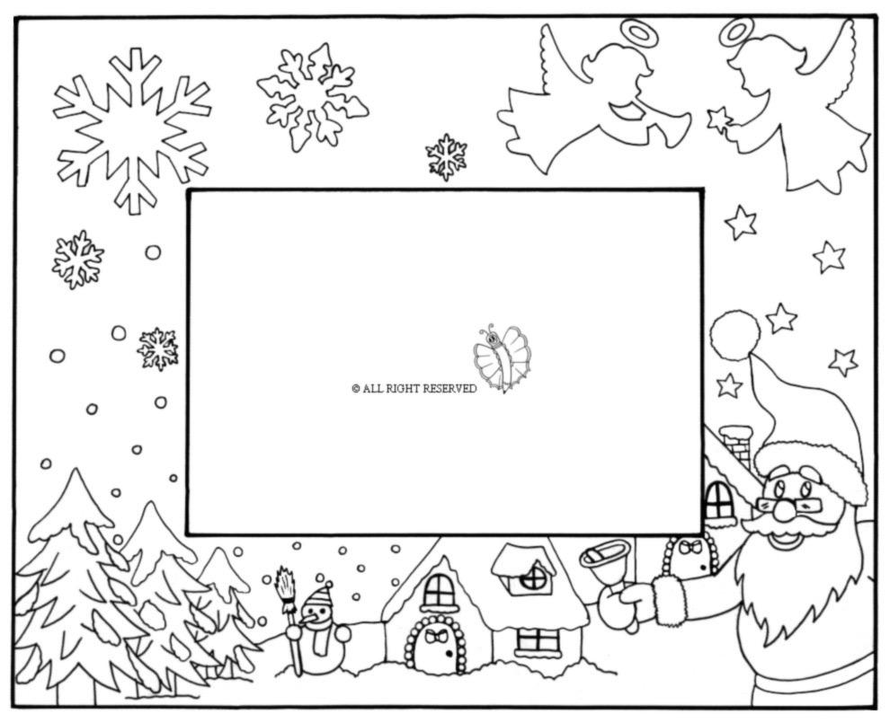 Disegni Di Natale Gratis Da Colorare Per Bambini.Disegno Di Cornice Di Natale Orizzontale Da Colorare Per Bambini