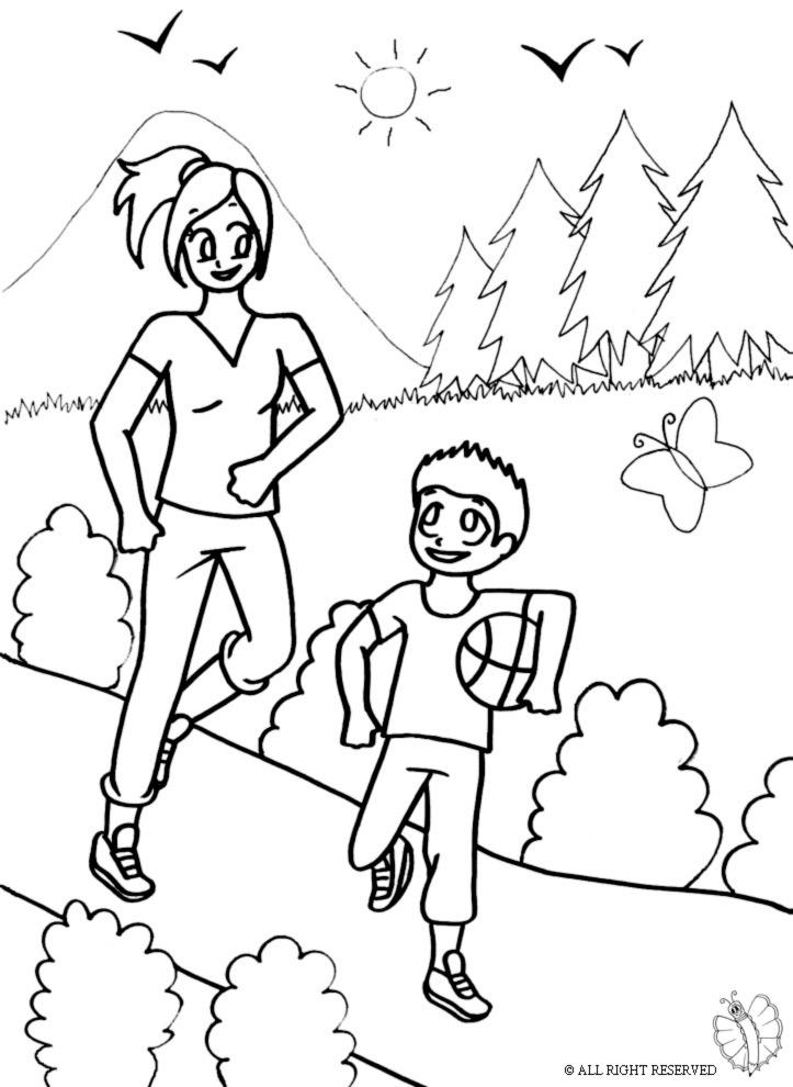 disegni da colorare di bambini al parco giochi