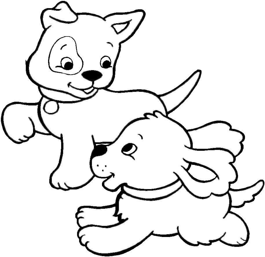 Disegni Di Cagnolini Da Colorare.Disegno Di Cuccioli Di Cane Da Colorare Per Bambini