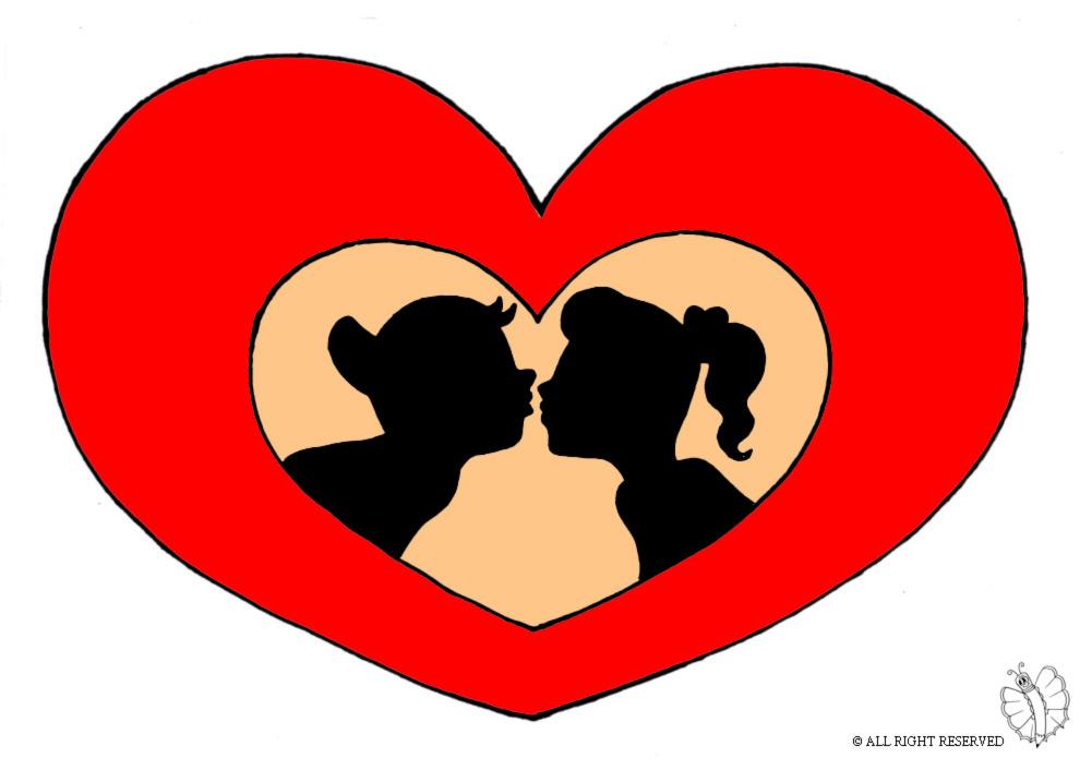 Super Disegno di Cuore San Valentino a colori per bambini  VI12