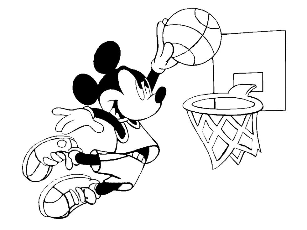 Disegno Di Topolino E Il Basket Da Colorare Per Bambini