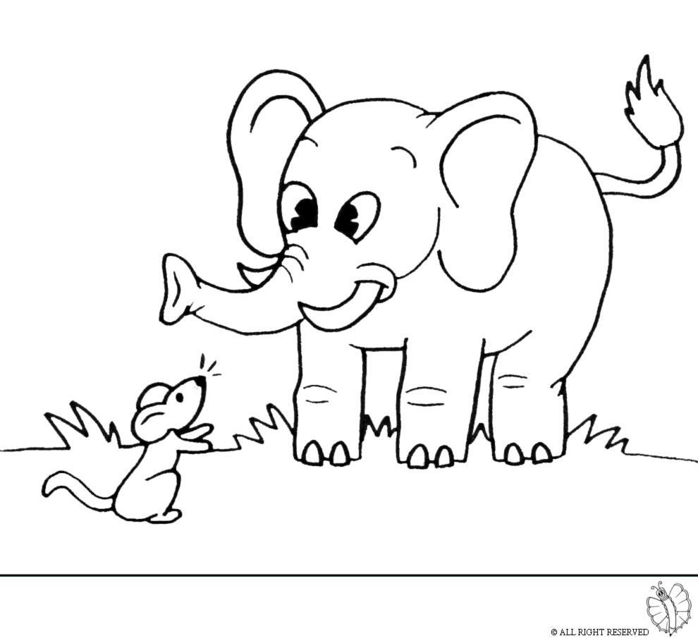 Estremamente Disegno di Elefante e Topolino da colorare per bambini  GW77