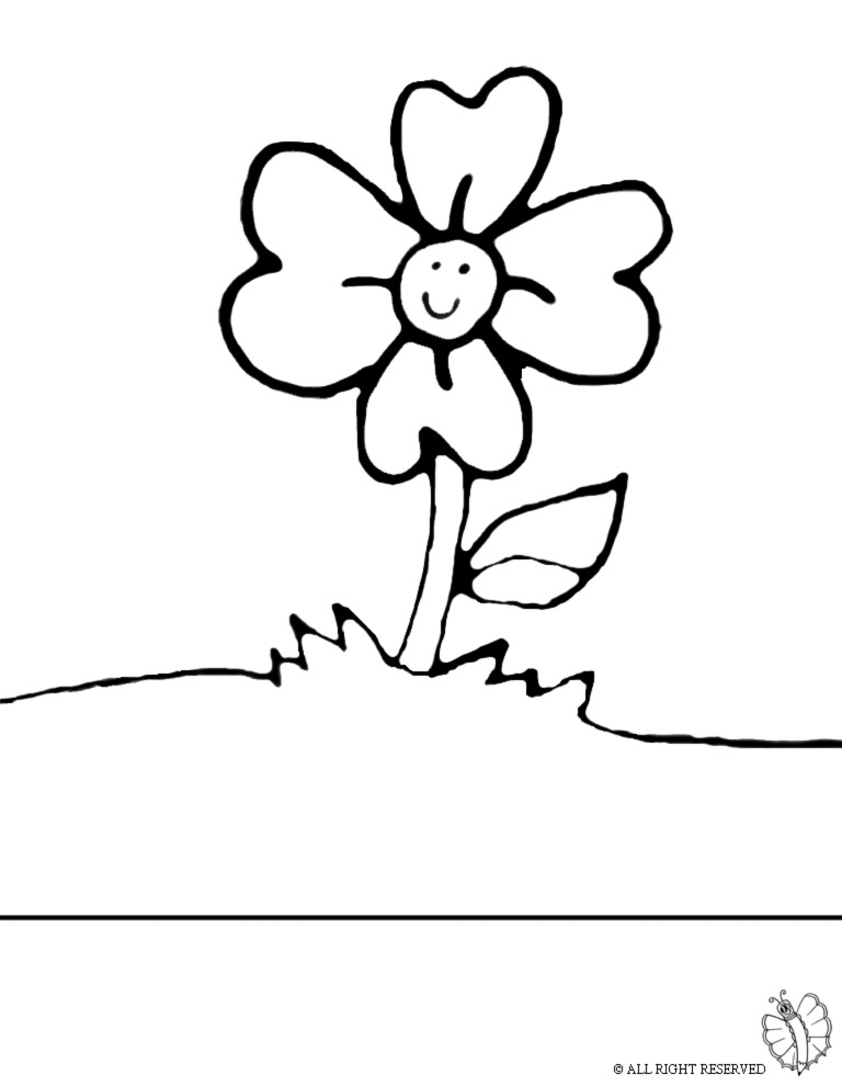 Disegno Di Fiore Nel Prato Da Colorare Per Bambini