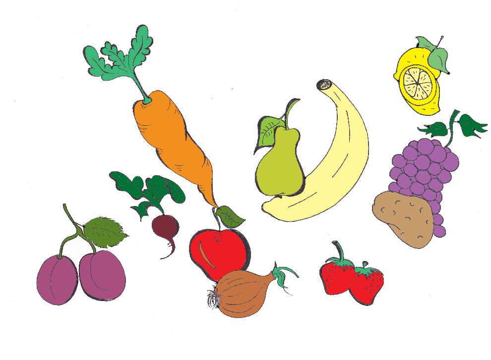 Disegno Di Frutta E Verdura A Colori Per Bambini