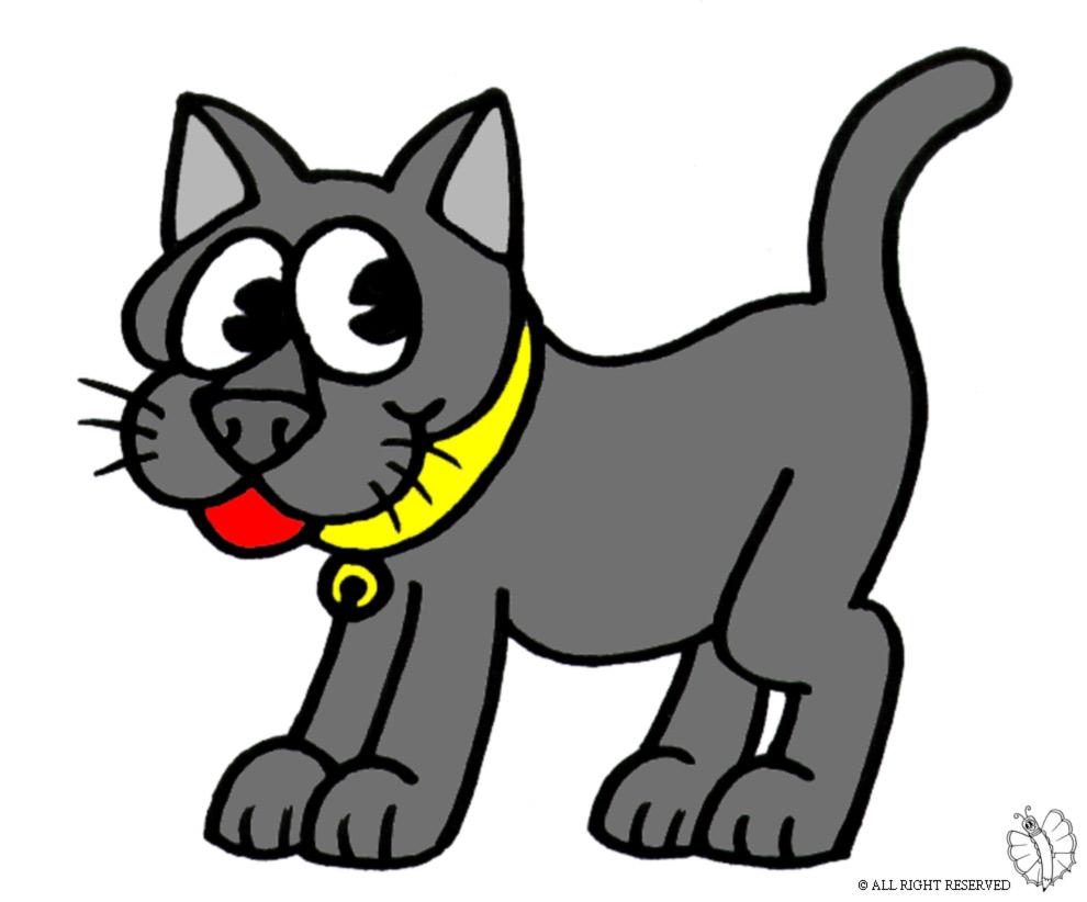 Preferenza Disegno di Gatto con Collare a colori per bambini  IC57