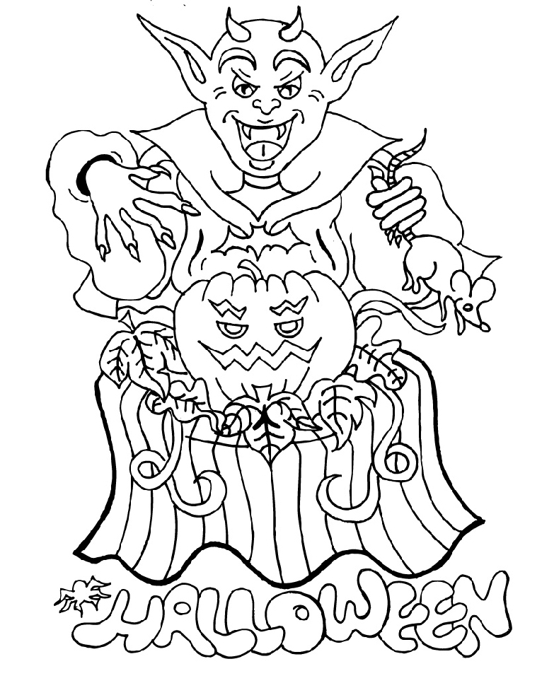Disegno Di Diavolo Di Halloween Da Colorare Per Bambini