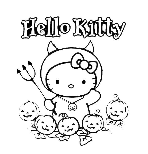 disegni da colorare hello kitty halloween