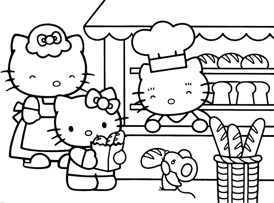 Eccezionale Disegno di Hello Kitty Family da colorare per bambini  BZ88