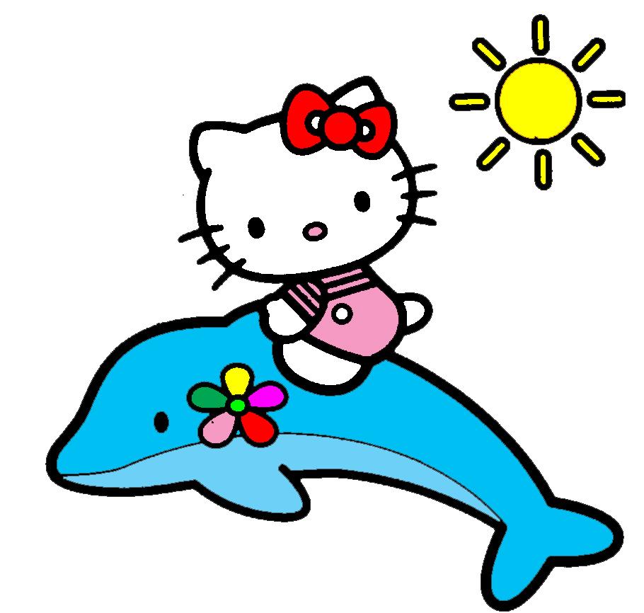 Ben noto Disegno di Hello Kitty sul Delfino a colori per bambini  XX66