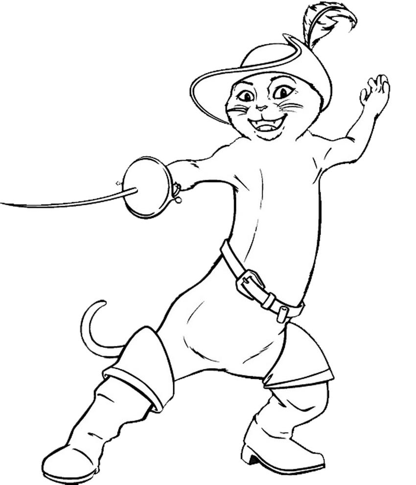 Preferenza Disegno di Il Gatto con gli Stivali da colorare per bambini  EY86