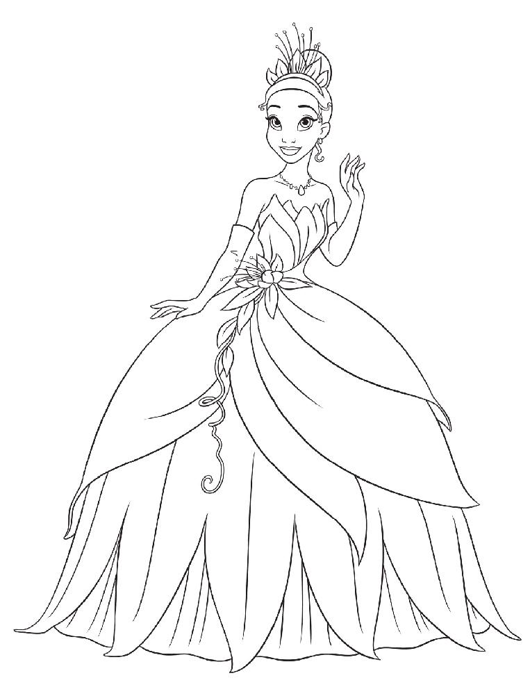 Disegno Di La Principessa Tiana Da Colorare Per Bambini Disegnidacolorareonline Com