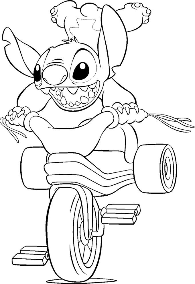 Disegno Di Stitch Sulla Bici Da Colorare Per Bambini Disegnidacolorareonline Com