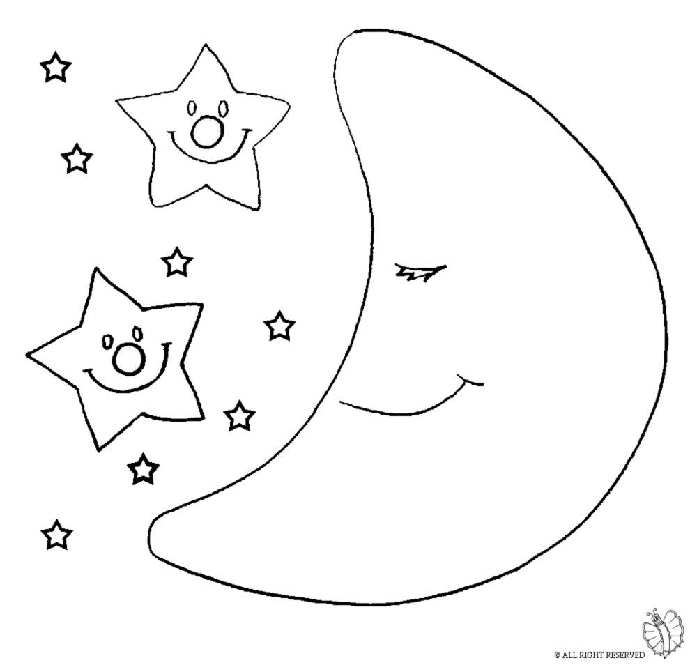 Disegno Di Luna E Stelle Da Colorare Per Bambini