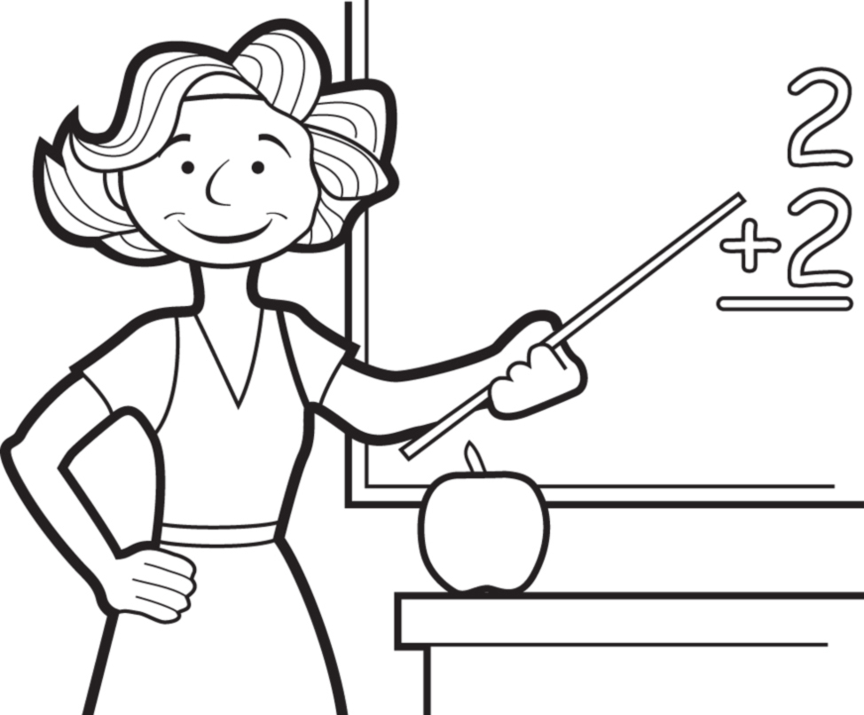 Top Disegno di Maestra alla Lavagna da colorare per bambini  ZS15