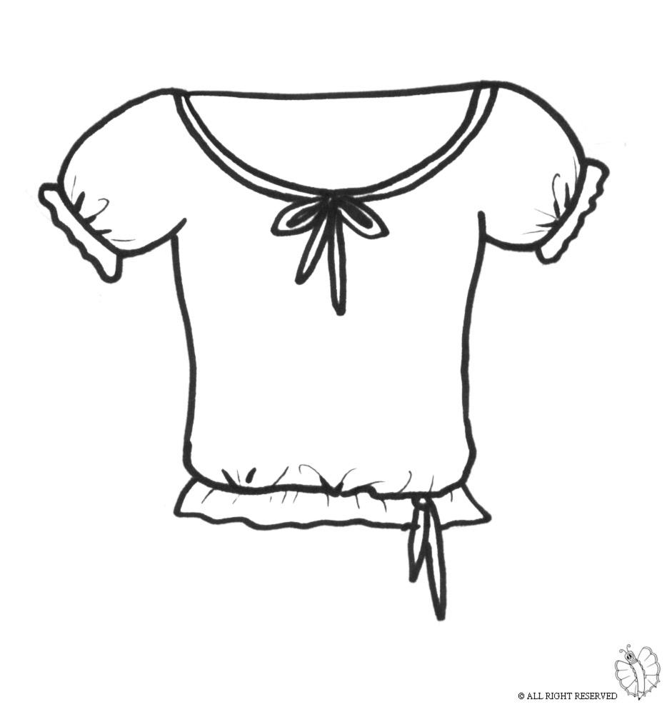 Famoso Disegno di Maglietta con Fiocchi da colorare per bambini  GC01