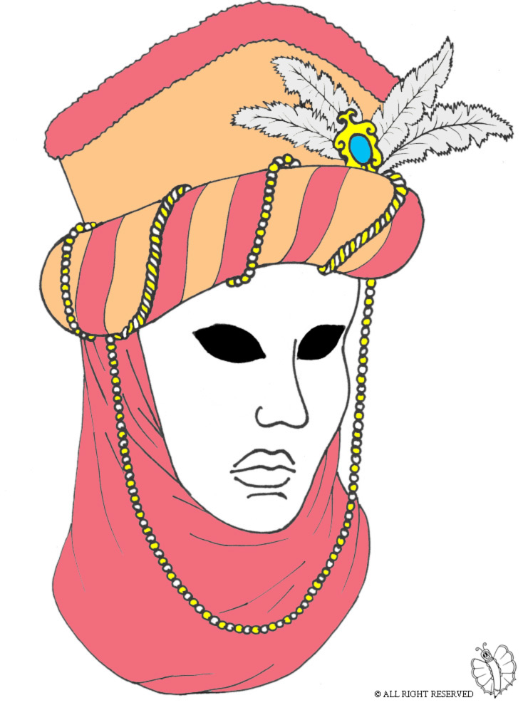 Disegno Di Maschera Carnevale Di Venezia A Colori Per Bambini