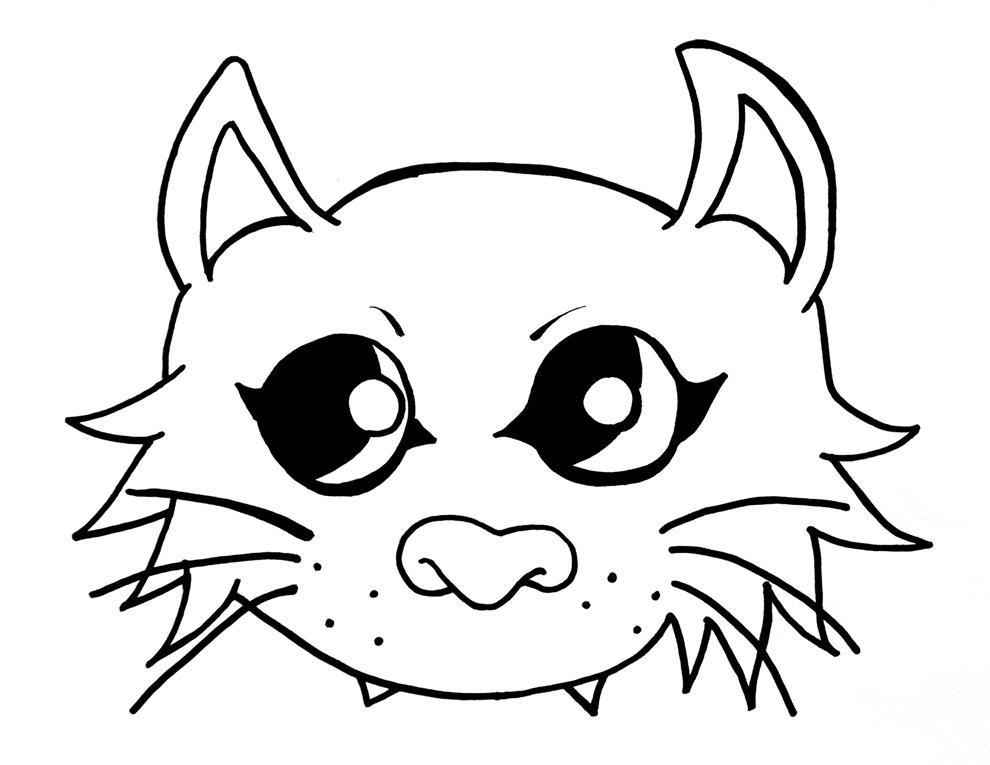 Disegno gatto per bambini lh87 regardsdefemmes for Maschere di animali di carnevale da colorare