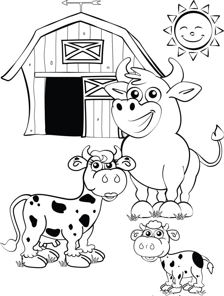 Disegno Di La Fattoria Con Le Mucche Da Colorare Per Bambini