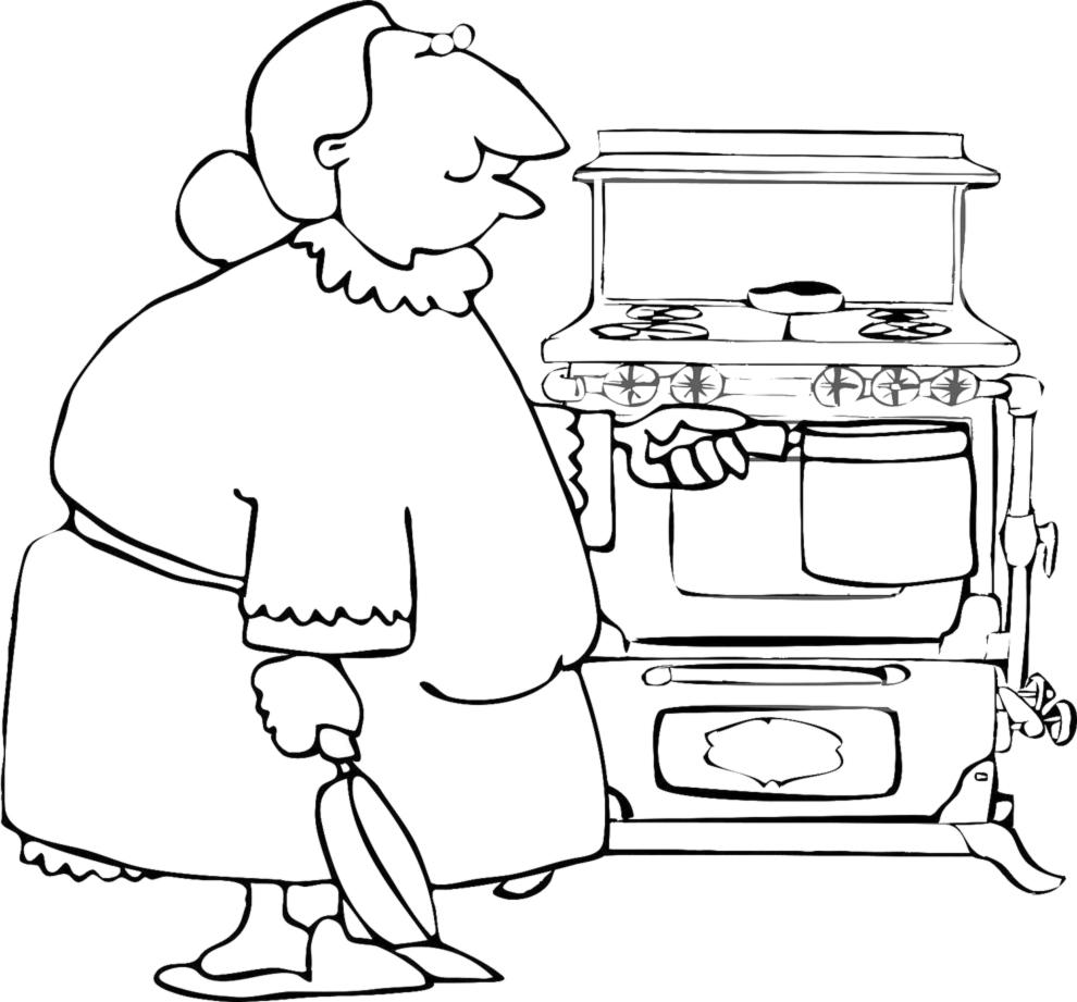 Disegno Di Nonna In Cucina Da Colorare Per Bambini Disegnidacolorareonline Com