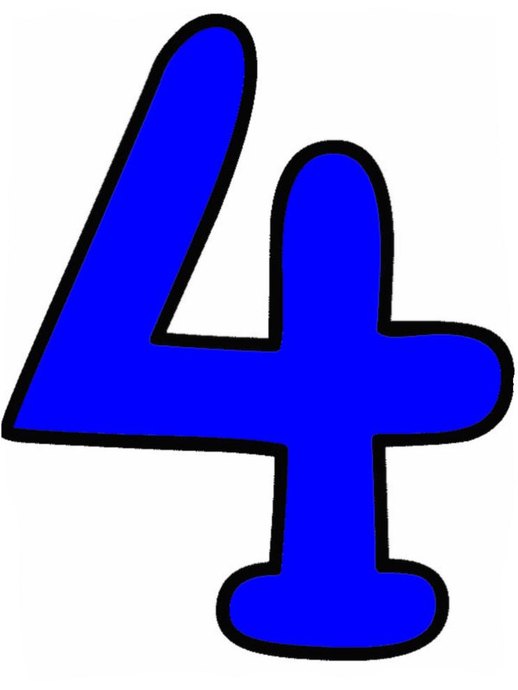 Eccezionale Disegno di Numero Quattro a colori per bambini  AH51