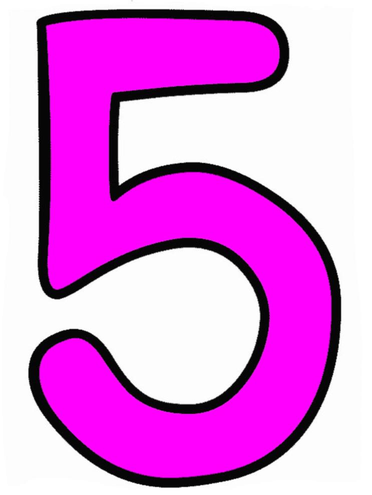 Disegno Di Numero Cinque A Colori Per Bambini