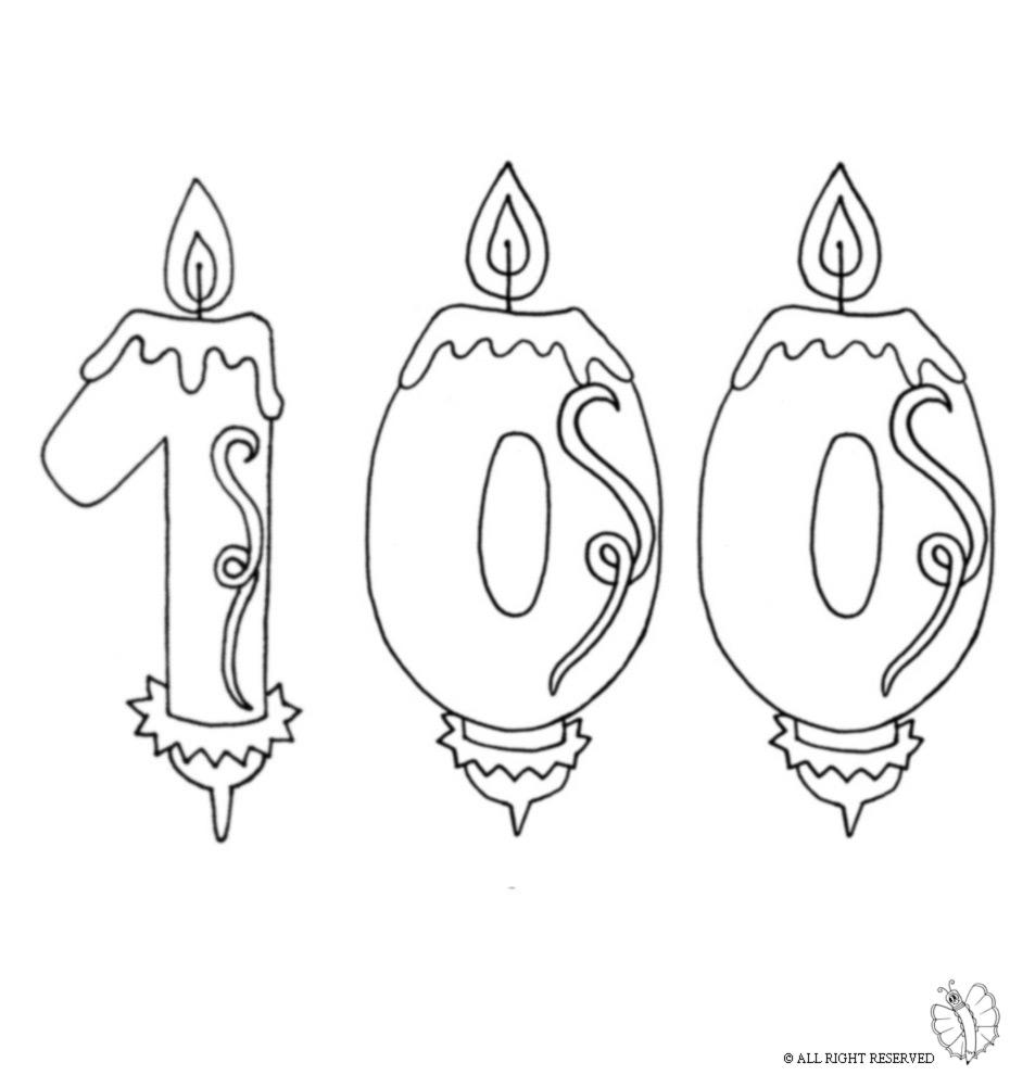 Disegno Di Cento Anni Candeline Compleanno Da Colorare Per Bambini