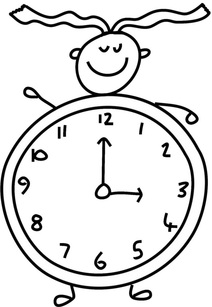 Disegno Di Orologio Da Colorare Per Bambini