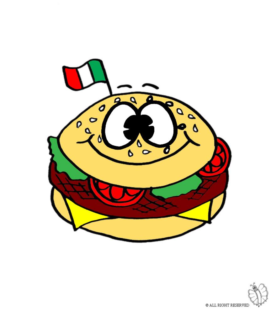 Disegno Di Panino Hamburger A Colori Per Bambini